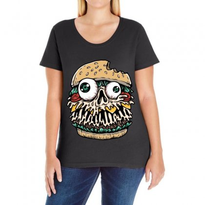 Hamburger Monster Ladies Curvy T-shirt Designed By Quilimo