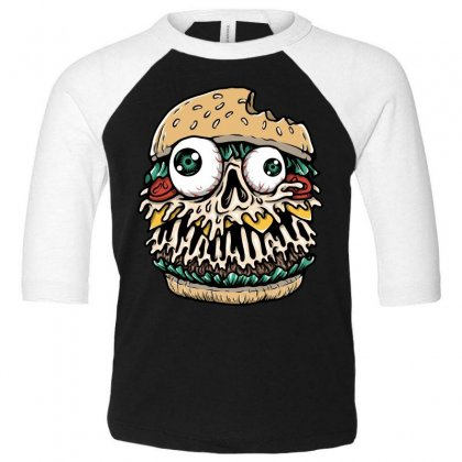 Hamburger Monster Toddler 3/4 Sleeve Tee Designed By Quilimo