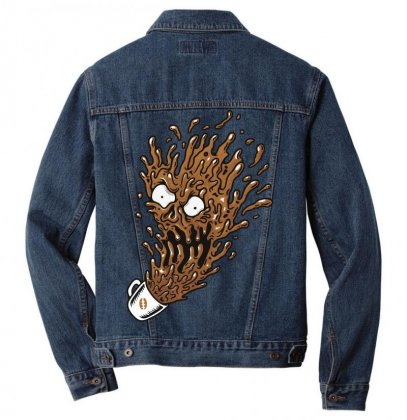 Coffee Monster Men Denim Jacket Designed By Quilimo