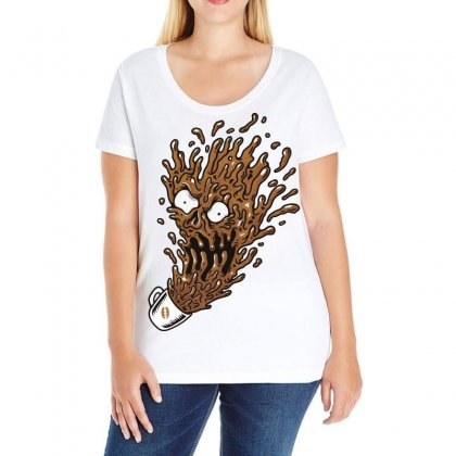 Coffee Monster Ladies Curvy T-shirt Designed By Quilimo