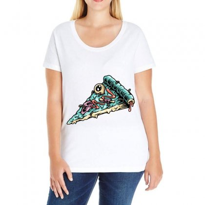 Pizza Zombie Ladies Curvy T-shirt Designed By Quilimo