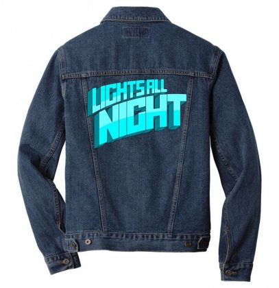 Lights All Night Festival Logo Men Denim Jacket Designed By Cahayadianirawan