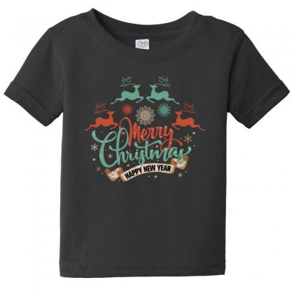 Merry Christmas Happy New Year Baby Tee Designed By Gurkan