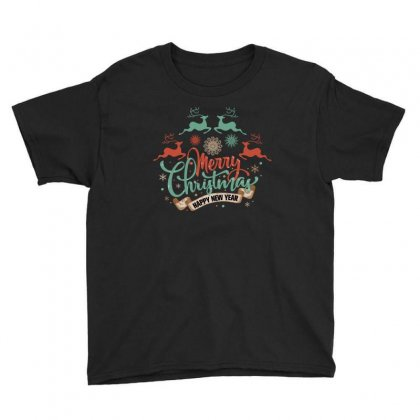 Merry Christmas Happy New Year Youth Tee Designed By Gurkan