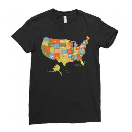 United Selfie Of America Ladies Fitted T-shirt Designed By Dameart