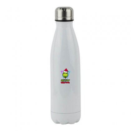 Merry Whatever Grinch Funny Christmas Stainless Steel Water Bottle Designed By Meganphoebe