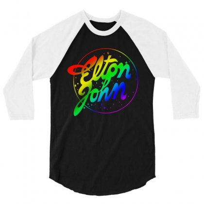 Elton John Official Rainbow 3/4 Sleeve Shirt Designed By Mirazjason