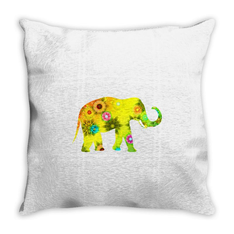 Colored Elephant Throw Pillow | Artistshot