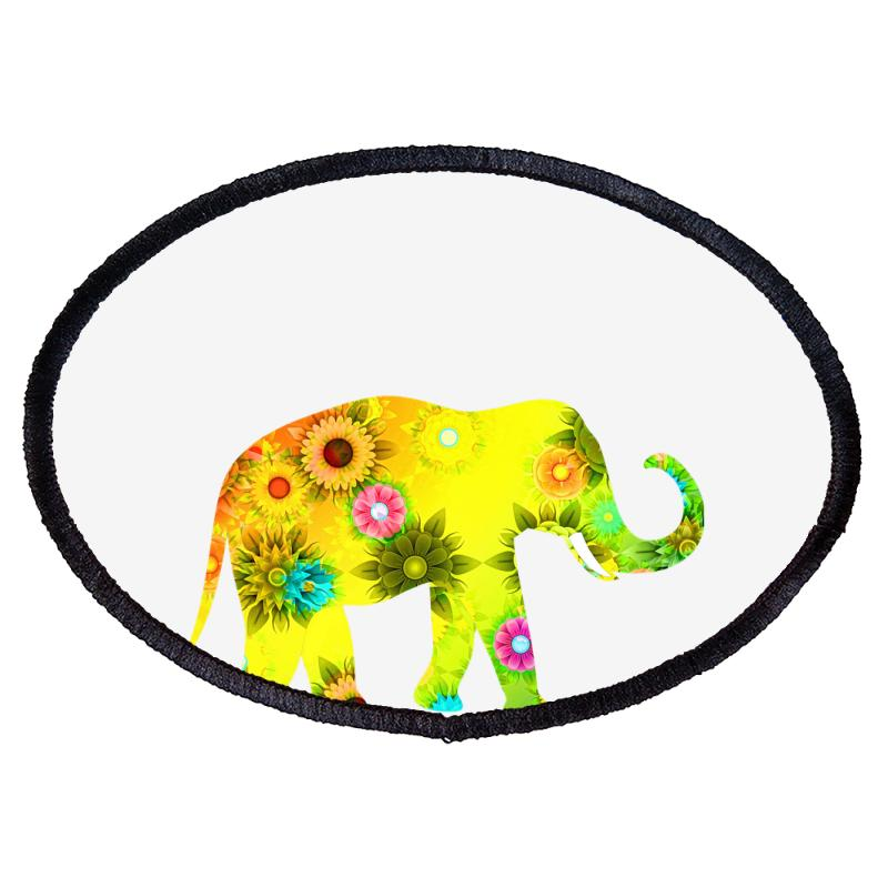 Colored Elephant Oval Patch | Artistshot