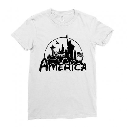 Welcome To America Ladies Fitted T-shirt Designed By Dameart