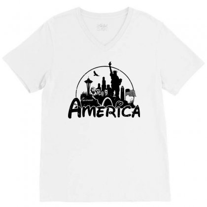 Welcome To America V-neck Tee Designed By Dameart