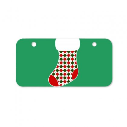 Personalized Christmas Stocking Family Matching Square Pattern Bicycle License Plate Designed By Honeysuckle