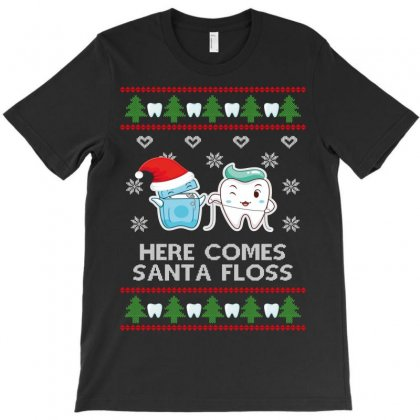 Here Comes Santa Floss T-shirt Designed By Wizarts