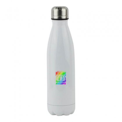 Because Penguins Are Freaking Awesome   Rainbow Style Stainless Steel Water Bottle Designed By Meganphoebe