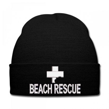 Beach Rescue Embroidered Knit Cap Designed By Madhatter
