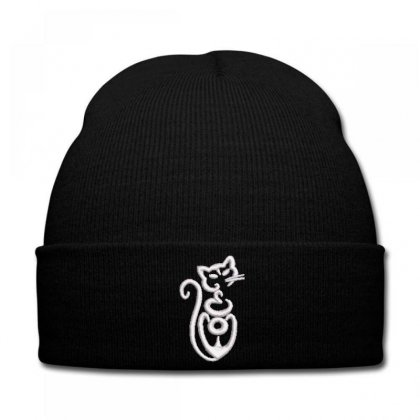 Cat Embroidered Knit Cap Designed By Madhatter