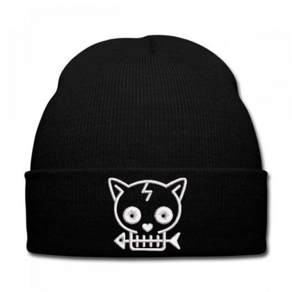 Cat  Fısh Embroidered Knit Cap Designed By Madhatter
