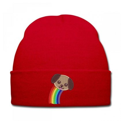 Raınbow  Dog Embroidered Knit Cap Designed By Madhatter