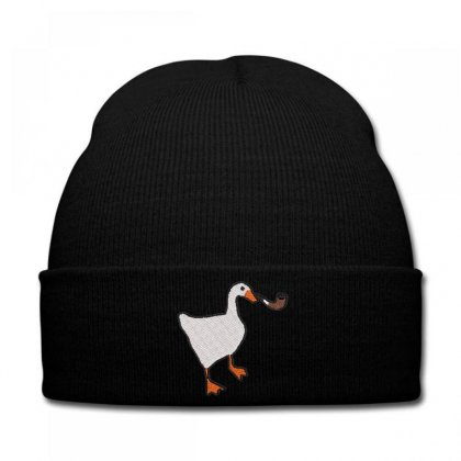 Smokıng  Duck Embroidered Knit Cap Designed By Madhatter