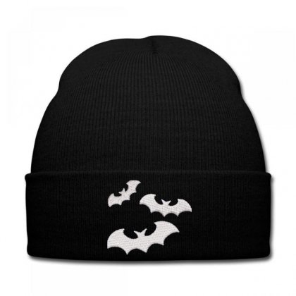 Bats Embroidered Knit Cap Designed By Madhatter