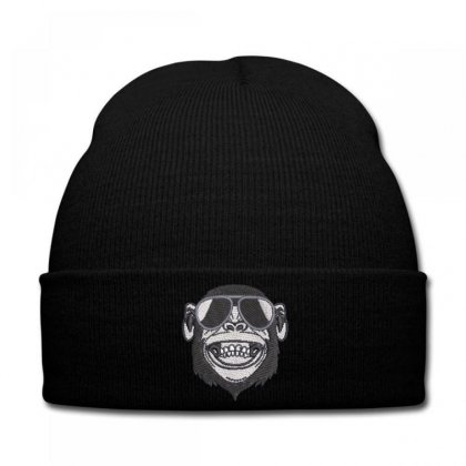 Crazy  Monkey Embroidered Knit Cap Designed By Madhatter