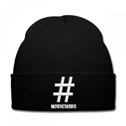 Noexcuses Embroidered Knit Cap Designed By Madhatter