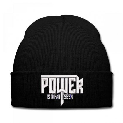 Power Embroidered Knit Cap Designed By Madhatter