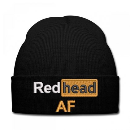 Red Head Af Embroidered Knit Cap Designed By Madhatter