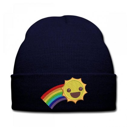 Hapyy Sun Embroidered Knit Cap Designed By Madhatter