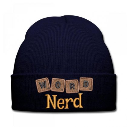 Word  Nerd  Embroidered Knit Cap Designed By Madhatter