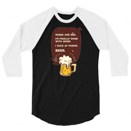 Beer Poem 3/4 Sleeve Shirt Designed By Daraart