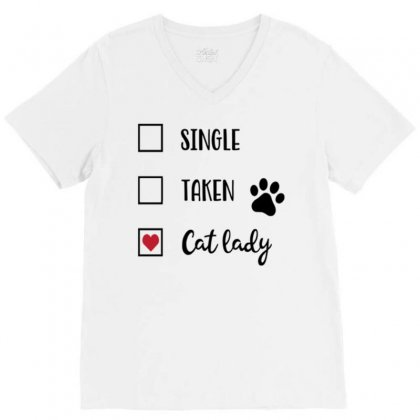 Cat Lady V-neck Tee Designed By Daraart
