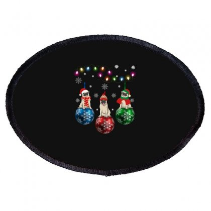 Pug Christmas Oval Patch Designed By Omer Acar