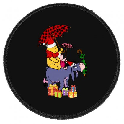 Winnie The Pooh Plaid Pattern Round Patch Designed By Hasret