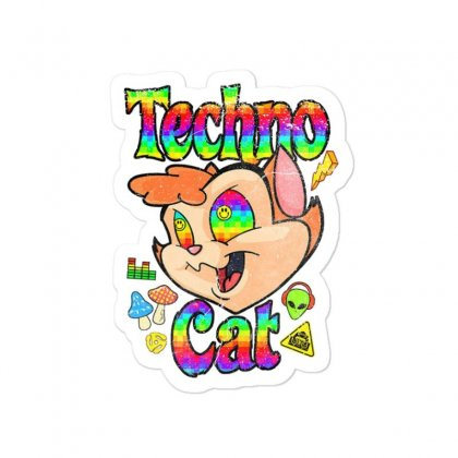 Techno Cat Sticker Designed By Disgus_thing