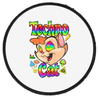 Techno Cat Round Patch Designed By Disgus_thing