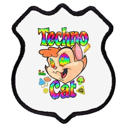 Techno Cat Shield Patch Designed By Disgus_thing