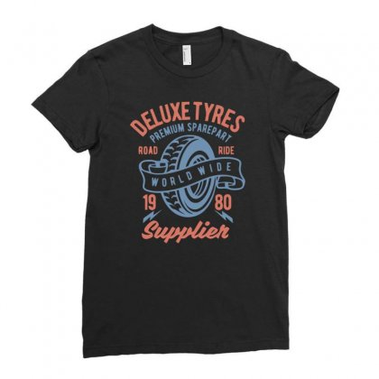 Deluxe Tyres Ladies Fitted T-shirt Designed By Daraart