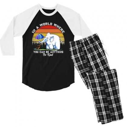 In A World Where You Can Be Anything Be Kind Men's 3/4 Sleeve Pajama Set Designed By Mirazjason