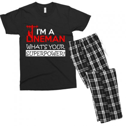 Lineman Whats Your Superpower Men's T-shirt Pajama Set Designed By Platinumshop