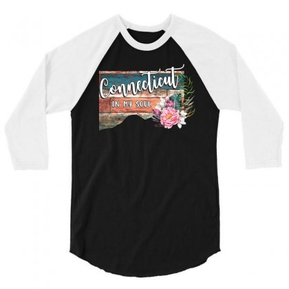 Connecticut In My Soul 3/4 Sleeve Shirt Designed By Honeysuckle