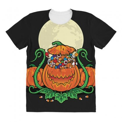 Halloween Candies Coming Out From Pumpkin All Over Women's T-shirt Designed By Daraart