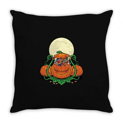 Halloween Candies Coming Out From Pumpkin Throw Pillow Designed By Daraart