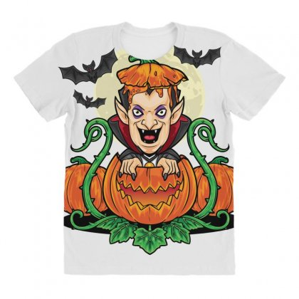 Halloween Vsmpie Coming Out From Pumpkin All Over Women's T-shirt Designed By Daraart