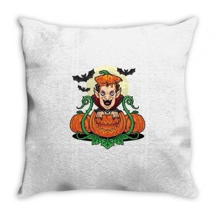 Halloween Vsmpie Coming Out From Pumpkin Throw Pillow Designed By Daraart
