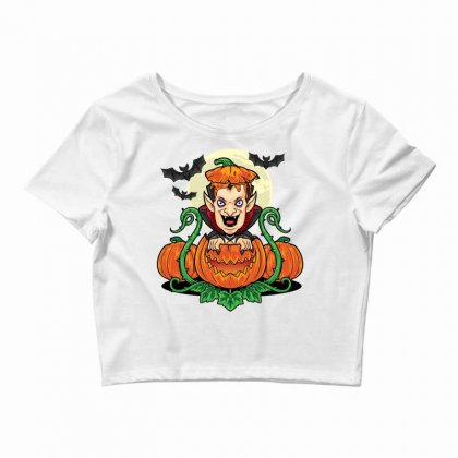 Halloween Vsmpie Coming Out From Pumpkin Crop Top Designed By Daraart