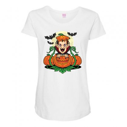Halloween Vsmpie Coming Out From Pumpkin Maternity Scoop Neck T-shirt Designed By Daraart