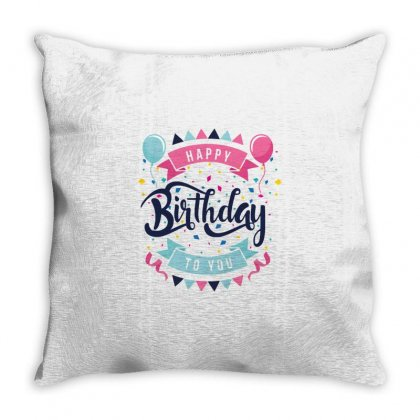 Happy Birtday Throw Pillow Designed By Daraart