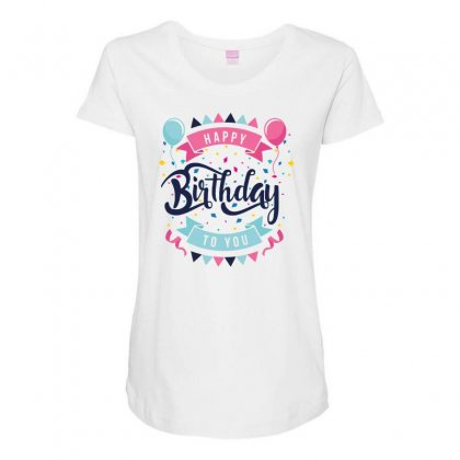 Happy Birtday Maternity Scoop Neck T-shirt Designed By Daraart