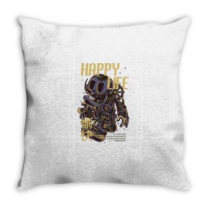 Happy Life Throw Pillow Designed By Daraart